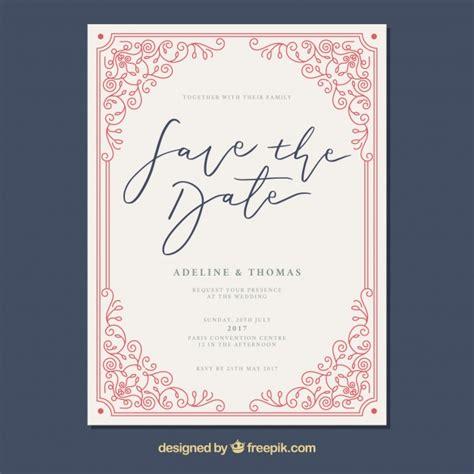 Wedding Card Freepik by Wedding Card With Vintage Frame Vector Free