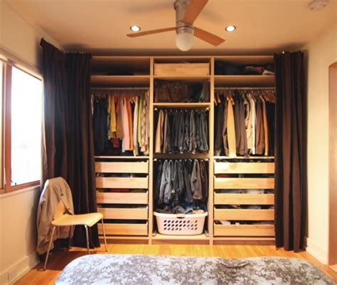 bedroom clothes storage clothes storage in bedroom hidden by curtain creates an