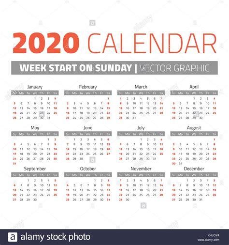einfache  jahr kalender wochen  sonntag vektor abbildung bild  alamy