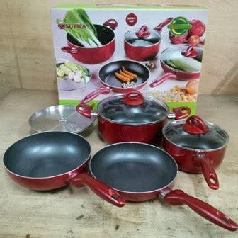 Panci Weston Warna Warni panci supra teflon panci wajan masak 7 set lengkap