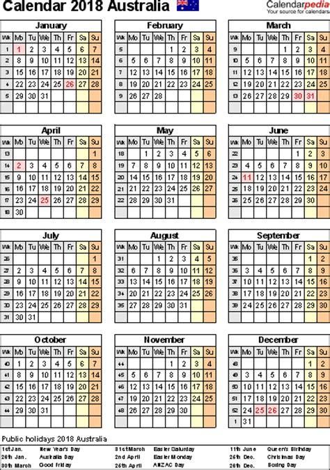 Calendar 2018 Showing Bank Holidays Australia Calendar 2018 Free Printable Pdf Templates