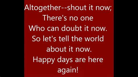 days are lyrics leo reisman and his orchestra quot happy days are here again quot 1929 lyrics are here for
