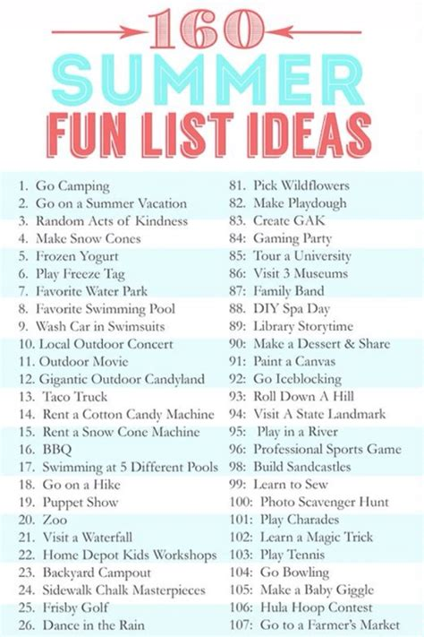 7 Things I Like To Do During The Day by 160 Summer List Ideas Trusper