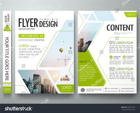 templates for a4 flyers brochure design template vector green abstract stock