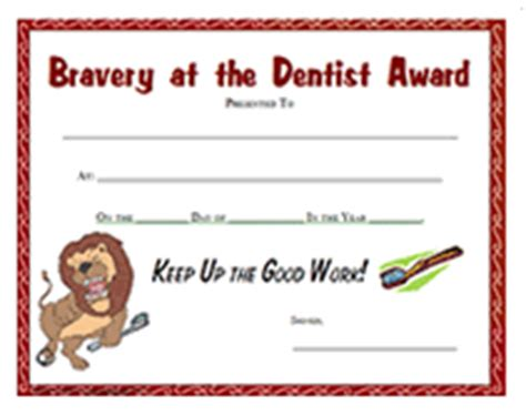 bravery certificate template free printable dentist award certificate templates