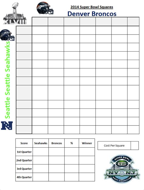 best photos of super bowl football squares template