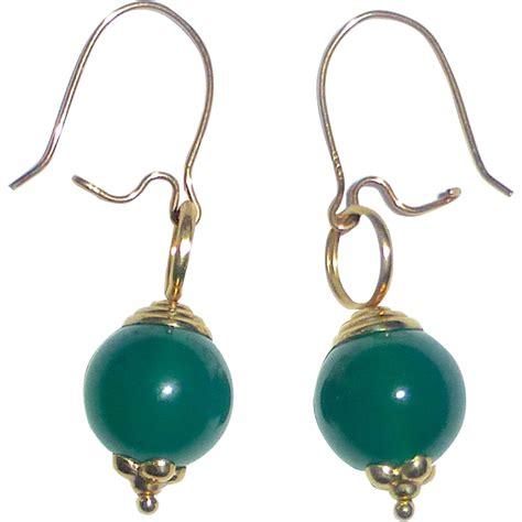 gold bead earrings 14k yellow gold chrysoprase bead earrings from bejewelled