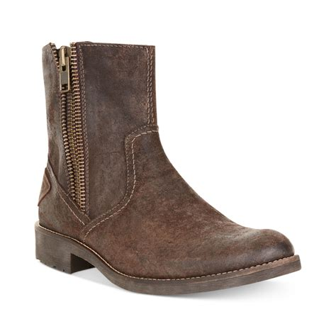 mens shoes boots guess cayden zip boots in brown for lyst