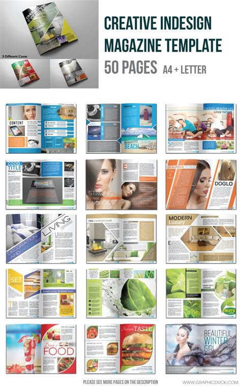 indesign magazine template 50 pages graphic design