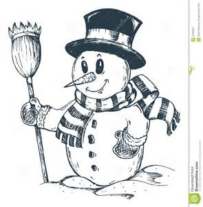 Winter snowman theme drawing 1 royalty free stock photography image