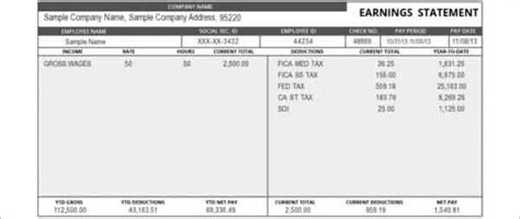 Earnings Statement Template Best Template Exles Pay Stub Template Word Document Free