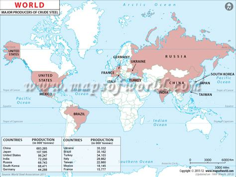 World Crude Steel Producing Countries Map
