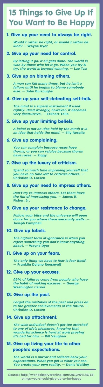 15 things you need to give up if you want to be happy