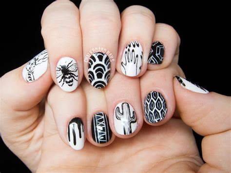 Freehand Nail by Personalized Black And White Freehand Nail