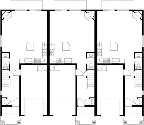 triplex house plan townhouse with garage row house t 414 triplex house plans craftsman exterior town house plans