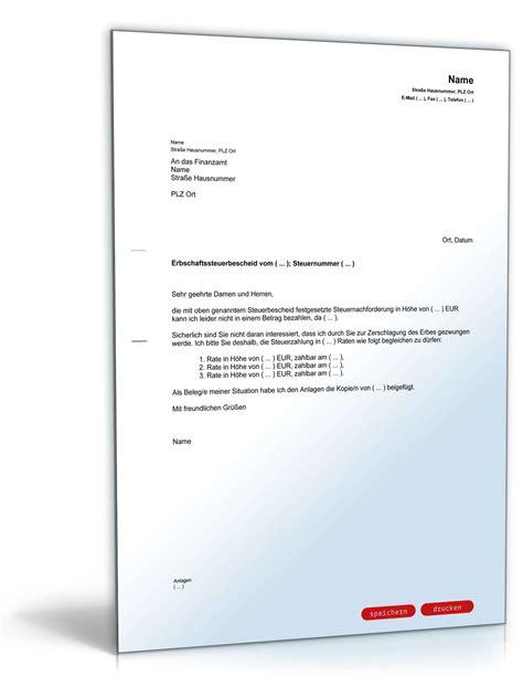 Brief Antrag Auf Ratenzahlung antrag ratenzahlung erbschaftssteuer muster zum