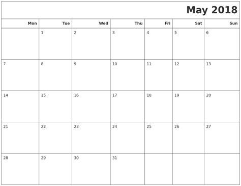 printable calendar monday start may 2018 calendars to print