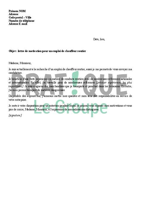 lettre de motivation pour un emploi de chauffeur routier