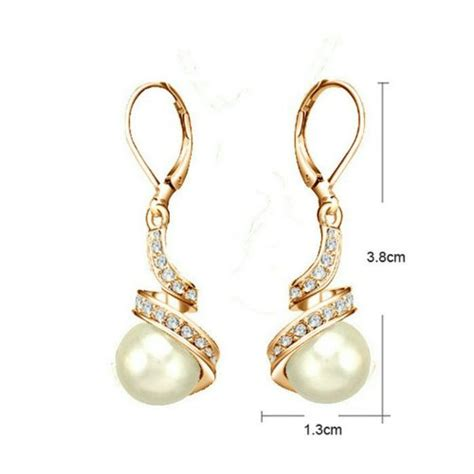 Liontin Luxury White Gold Plated 116 Free Rantai Box Pouch Cantik yoursfs pearl jewelry set 18k gold plated bridal pearl necklace earring sets gold