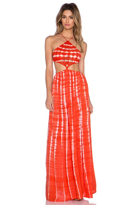 Dress Garis lyst indah revel crochet halter maxi dress in orange