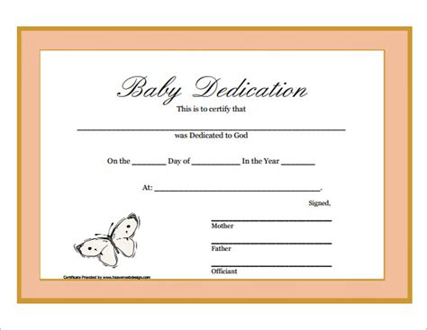 baby certificate template baby dedication certificate 9 free documents
