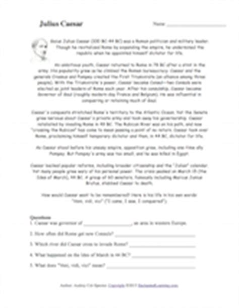 Julius Caesar Worksheets by Julius Caesar Read And Answer Enchantedlearning