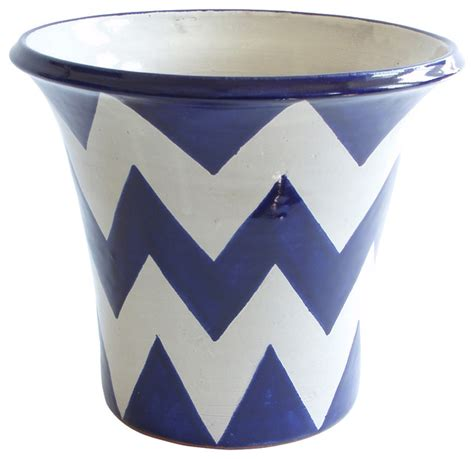 Blue And White Planter Pots by Zigzag Planter Blue White Indoor Pots