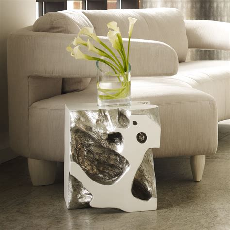 phillips upholstery freeform stool silver leaf phillips collection
