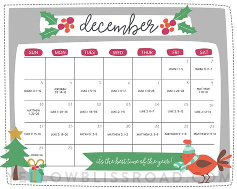 free printable christmas countdown calendar for december
