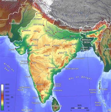 geographical map map of india