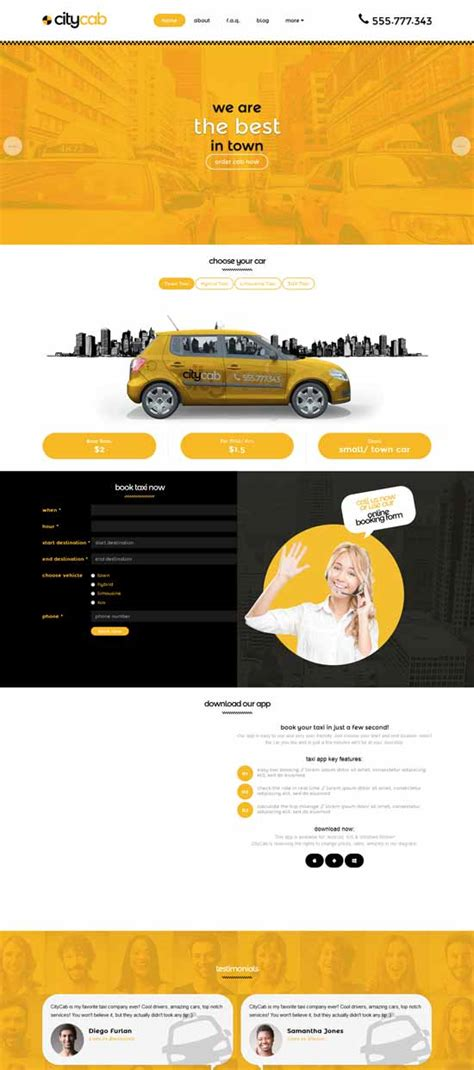 30 Best Car Rental Taxi Website Templates Free Premium Freshdesignweb Taxi Company Website Template