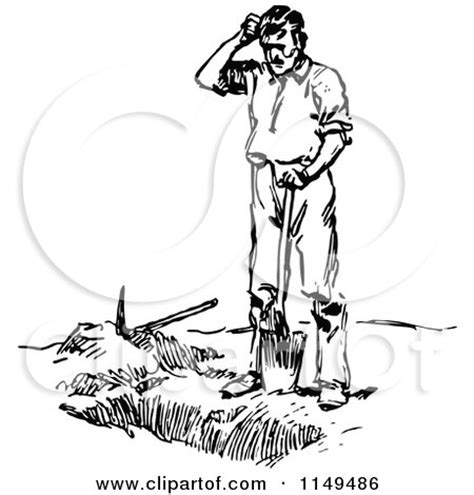 clipart of a retro vintage black and white man digging a