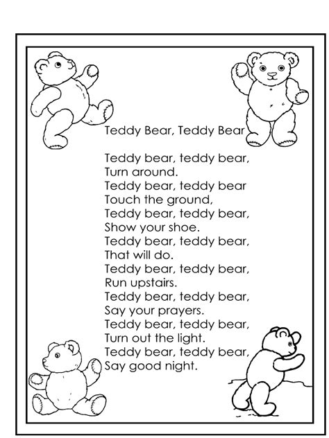 teddy teddy nursery rhyme search