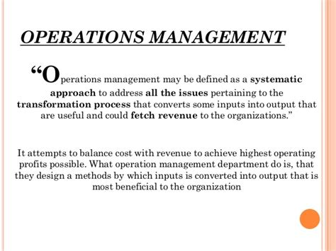 operation management operation management and operation strategy