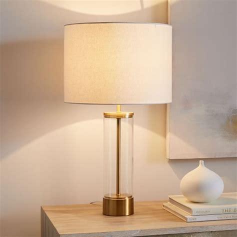 Acrylic Column Table Lamp   USB   Antique Brass   west elm