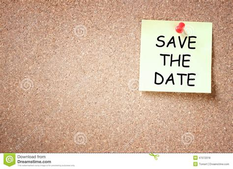 save the date text template sticky pinned to cork board with the phrase save the date