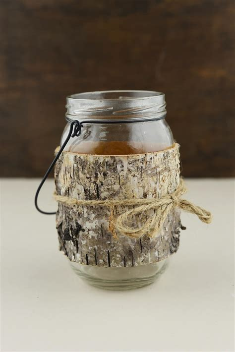 Jar Candle Holders Birch Wrapped Jar Candle Holder 6in