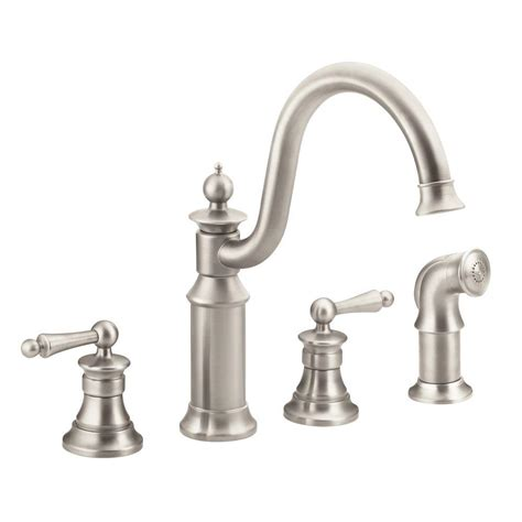 moen 2 handle kitchen faucet moen waterhill high arc 2 handle standard kitchen faucet