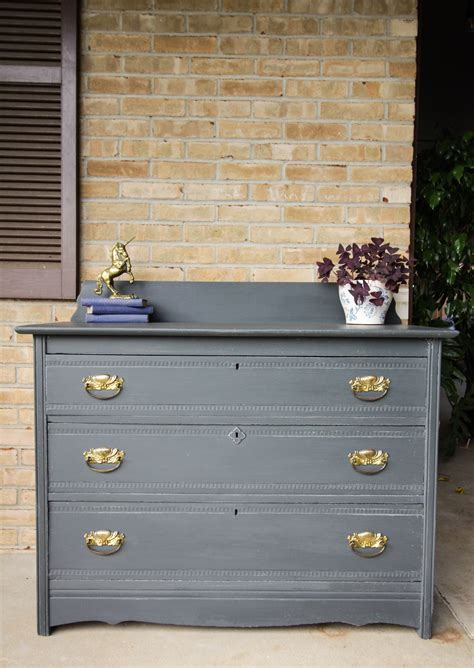Charcoal Grey Dresser by Furniture Makeover Charcoal Gray Gold Rustic Farmhouse