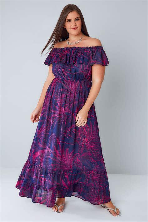 Maxi Frill Dress purple pink palm print frill maxi dress plus size 16 to 36