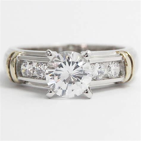 channel set engagement ring 14k white yellow gold