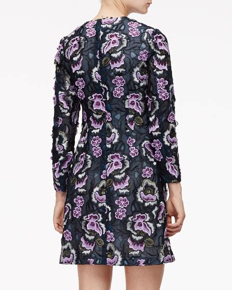 Floral Embroidered A Line Dress wes gordon floral embroidered slit a line dress