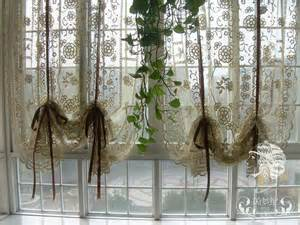 Country Window Curtains Country Crochet Lace Balloon Shade Sheer Cafe Kitchen Curtain 012 Ebay