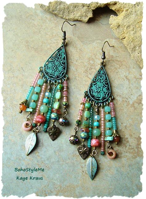 bohemian jewelry boho assemblage earrings colorful bohemian jewelry