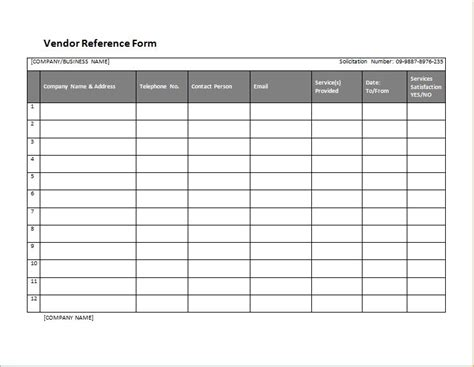 supplier reference template vendor form template vendor application template 12