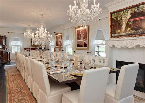 dining room in this lakefront wisconsin mansion is all about lavish