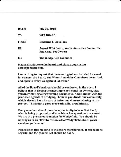 Request Letter For Payment Gateway the wedgefield examiner my resident letter to the board requesting an open canal dredging meeting