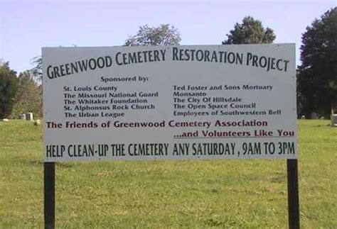 St Louis County Mo Records Friends Of Greenwood Cemetery Association