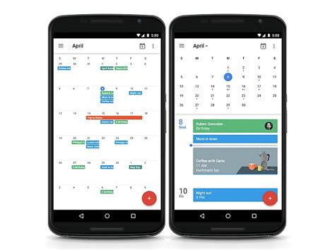 google calendar  android brings  month view