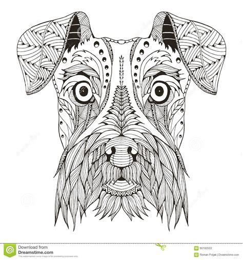 printable zen art schnauzer dog head zentangle stylized vector